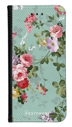 Portfel Wallet Case LG K40 zielone kwiatki