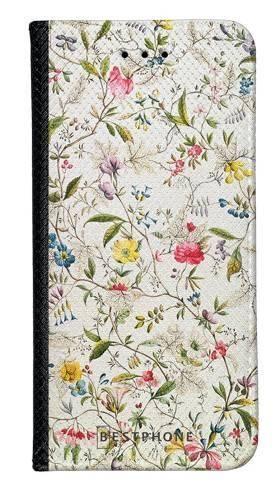 Portfel Wallet Case Samsung Galaxy A20e białe kwiatki
