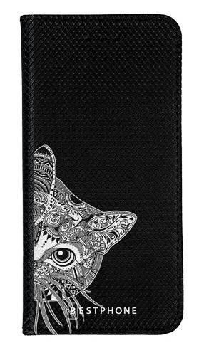 Portfel Wallet Case Samsung Galaxy Core Prime biało czarny kot