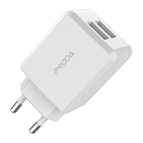Proda Linshy Pro Charger PD-A22 ładowarka sieciowa adapter 2x USB 2.1A biały (EU)