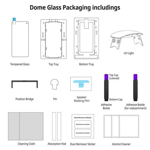 SZKŁO HARTOWANE WHITESTONE DOME GLASS GALAXY S10+ PLUS CLEAR