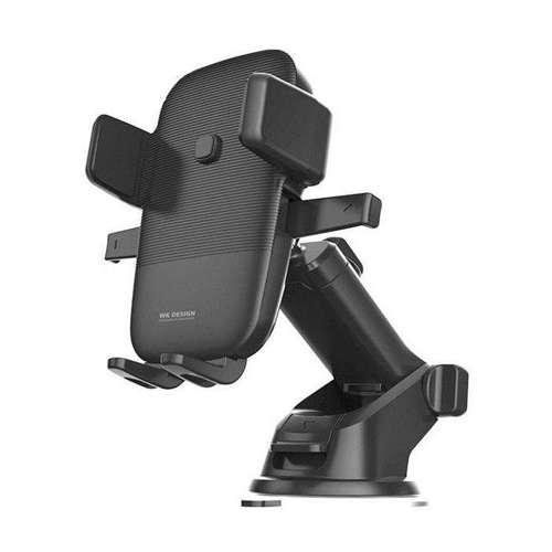 WK Design bezprzewodowa ładowarka Qi 10W uchwyt samochodowy z regulowanym ramieniem na szybę i deskę rozdzielczą czarny (WP-U48 black)