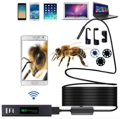 Wodoszczelna miniaturowa kamera endoskopowa bezprzewodowa Wi-Fi 8mm (śr) 5m (dł) Android iOS USB / micro USB / USB Typ C czarny