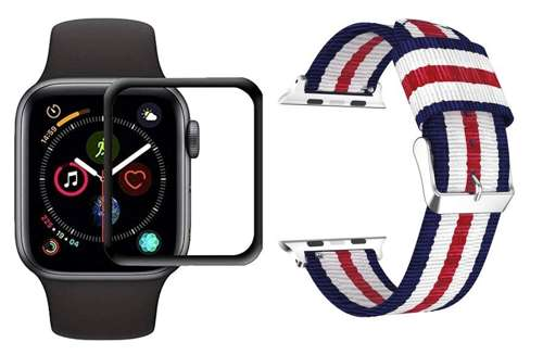 "opaska pasek bransoleta WELLING ""2"" APPLE WATCH 4/5/6/SE 44MM NAVY/RED +szkło 5D"