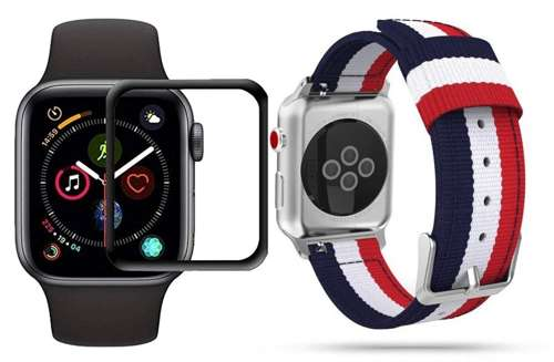 opaska pasek bransoleta WELLING APPLE WATCH 4/5/6/SE 40MM NAVY/RED +szkło 5D